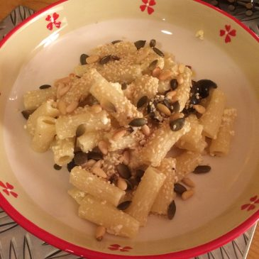 Pasta with Toasted Seeds & Feta Cheese