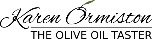 Karen Ormiston - The Olive Oil Taster main logo (O is an olive with green leaf)